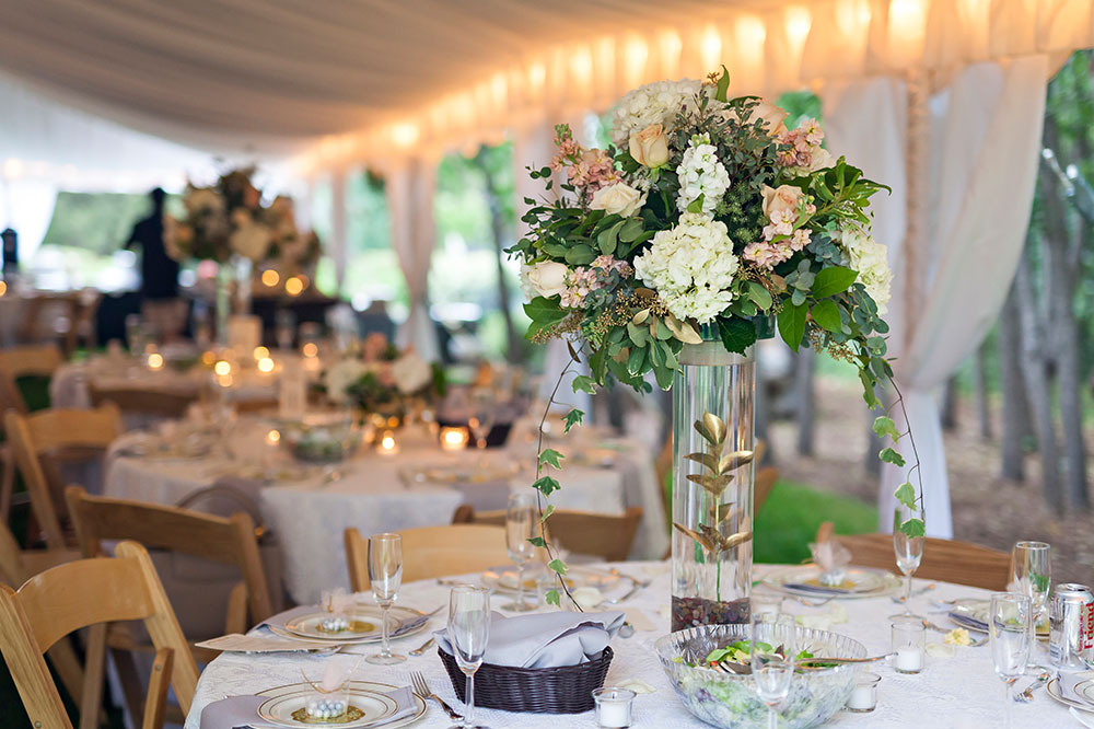 Floral Centerpiece under Tent - Wedding Planning
