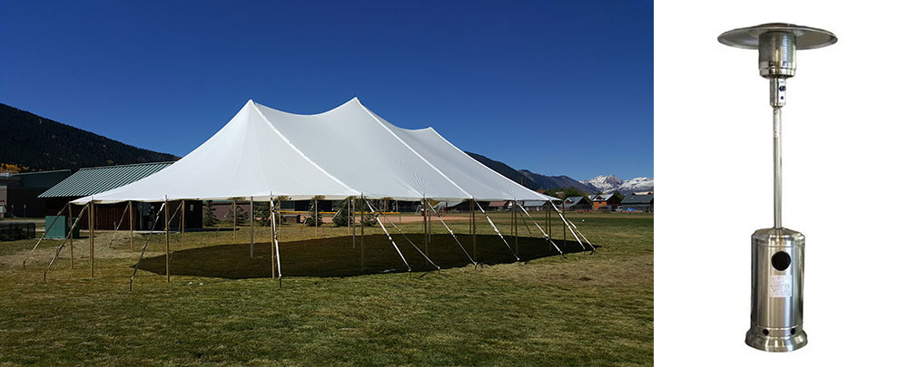 Outdoor Wedding Tips - Sailcloth Tent and Portable Heater
