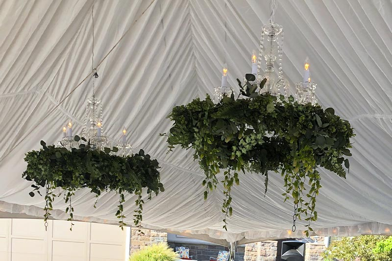 Hanging Floral Hoop Chandelier from Benson Tent Rent