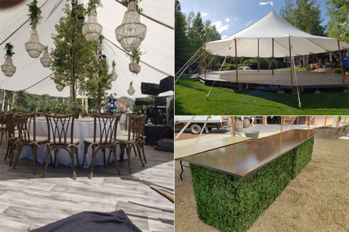 Sailcloth Tent and Boxwood Bars
