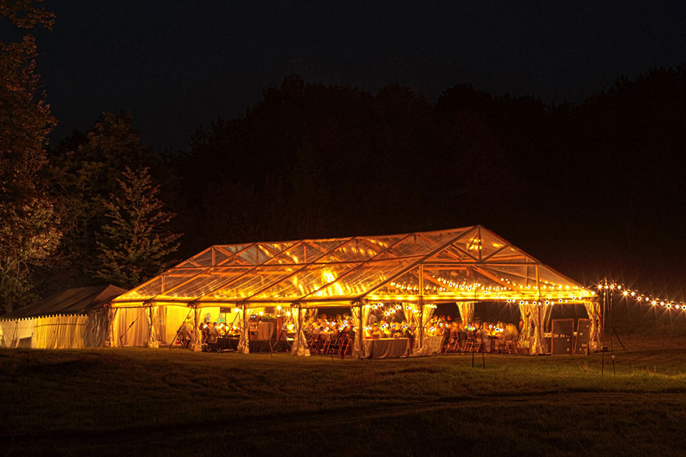Timbertrac Tented Wedding with lighting
